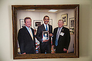 A framed picture of Illinois farmer Gordon Stine with President Barack Obama before he became president.  (Gordon Stine is featured in the book What I Eat; Around the World in 80 Diets.)
