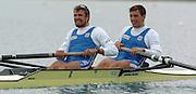 FISA World Cup Rowing Munich Germany..28/05/2004..Peter Spurrier.SCG M2- Bow Nikola Stojc and Mladen Stegic. [Mandatory Credit: Peter Spurrier: Intersport Images].