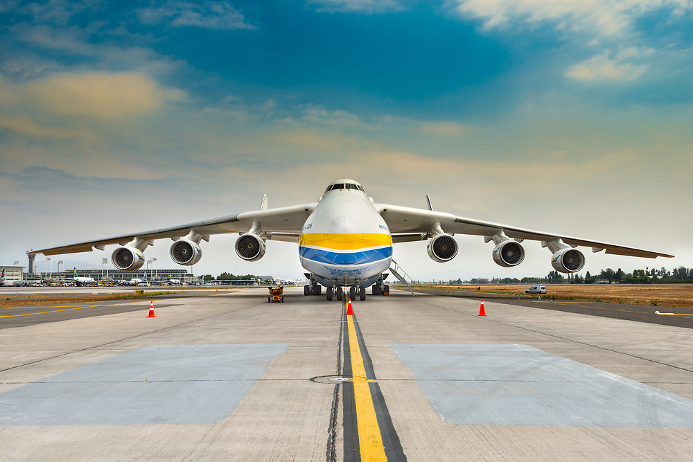 Santiago de Chile, Metropolitan Region, Chile, South America - The Antonov 225 also know as AN-225 and the biggest airplane in the world, landed in the tarmac of Santiago international airport for transporting a big heavy cargo..