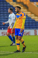 GOAL 2 -1 Nicky Maynard of Mansfield Town (22) after scoring the winning goal during the The FA Cup match between Mansfield Town and Dagenham and Redbridge at the One Call Stadium, Mansfield, England on 29 November 2020.