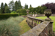 A curved stone balustrade around the parterre atNewby Hall, Ripon, Yorkshire, UK