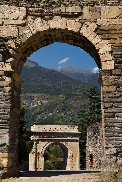 Susa.The Arch of Augustus originally built at the end of the 1st century BC to record the renewed alliance between Emperor Augustus and Marcus Julius Cottius, a Celto-Ligurian ruler who had been made king and Roman prefect of the Cottian Alps.