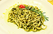 first course,<br /> tagliatelle with pesto and rosemary decorative