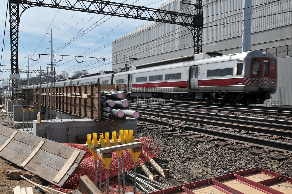Westbound Metro-North Commuter Train. Additional View taken during Construction Progress Photography of the Railroad Station at Fairfield Metro Center - Site visit 8 of once per month Chronological Documentation.