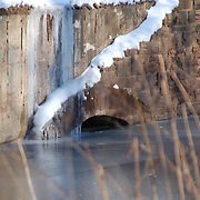 Snow on a bridge along the D and R Canal