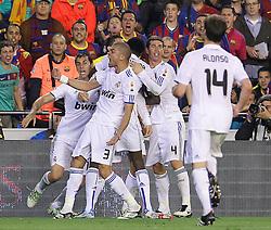 20-04-2011 VOETBAL: COPA DEL REY FC BARCELONA - REAL MADRID: VALENCIA<br /> Real Madrids Alvaro Arbeloa, Cristiano Ronaldo, Emmanuel Adebayor, Sergio Ramos and Pepe celebrate goal<br /> **NETHERLANDS ONLY**<br /> ©2011-FRH/EXPA/ Alterphotos/ Acero
