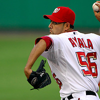 21 July 2007:  Washington Nationals pitcher Luis Ayala (56) pitches in the 7th inning against the Colorado Rockies.  Ayala pitched a 1/3 of an inning with one strikeout as the Nationals defeated the Rockies 3-0 at RFK Stadium in Washington, D.C.  ****For Editorial Use Only****