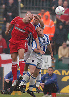 Photo: Alan Crowhurst, Digitalsport<br /> NORWAY ONLY<br /> <br /> BRIGHTON  v SWINDON<br /> Nationwide Division Two Playoffs 2nd Leg, 20/05/2004.<br /> <br /> Tommy Mooney - Danny Cullip - Charlie Oatway  challenge for the ball.