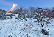 Montreal Olympic stadium viewed from botanical garden, in winter, snowy landscape, Quebec, Canada