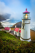 Heceta Head State Park (which includes Devils Elbow State Park) is located in a cove at the mouth of Cape Creek.  The light at top of 56-foot tower was illuminated in 1894.