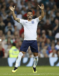 England's Jeremy Lynch celebrates scoring his side's second goal of the game during the UNICEF Soccer Aid match at Old Trafford, Manchester.