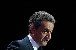 Right-wing Les Republicains (LR) party's candidate for the LR party primaries ahead of the 2017 presidential election, former French President Nicolas Sarkozy delivers a speech during a campaign rally on October 9, 2016 at the Zenith venue in Paris. Photo by Francois Pauletto/ABACAPRESS.COM