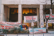 Former cleaners of the ministry of finance in central Athens occupy a protest camp outside the offices. 595 cleaning ladies were made redundant in favour of private contractors. The cleaning ladies have been protesting their dismisal and demanding their jobs back since the day of their redundancy.