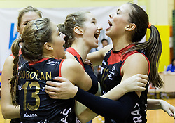 Anita Sobocan of Nova KBM Branik and Sasa Planinsec of Nova KBM Branik celebrate after winning during volleyball match between Nova KBM Branik Maribor and OK Luka Koper in Final of Women Slovenian Cup 2014/15, on January 18, 2015 in Sempeter v Savinjski dolini, Slovenia. Photo by Vid Ponikvar / Sportida