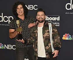 May 1, 2019 - Las Vegas, NV, USA - LAS VEGAS, NEVADA - MAY 01: (L-R) Dan Smyers and Shay Mooney of Dan + Shay pose with the award for Top Country Duo/Group in the press room during the 2019 Billboard Music Awards at MGM Grand Garden Arena on May 01, 2019 in Las Vegas, Nevada. Photo: imageSPACE (Credit Image: © Imagespace via ZUMA Wire)