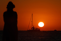 August 21, 2017 - Formentera, Zamora, Spain - View of the sunset minutes before the start of the Solar Eclipse, from Ses Illetes beach, Formentera, Spain, on Monday, August 21, 2017. (Credit Image: © Manuel Balles/NurPhoto via ZUMA Press)