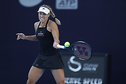 BEIJING , Oct. 2, 2018  Angelique Kerber of Germany hits a return during the women's singles second round match against Carla Suarez Navarro of Spain at China Open tennis tournament in Beijing, China, Oct. 2, 2018. Angelique Kerber won 2-0. (Credit Image: © Jia Haocheng/Xinhua via ZUMA Wire)