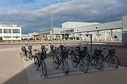 SAN LUIS POTOSI, MEXICO - JUNE 13, 2019: Bicycles for the use of the workers of the BMW vehicles production plant in Mexico.
