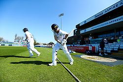 Luis Reece of Derbyshire and Ben Slater of Derbyshire walk out to bat at The 3aaa County Ground - Mandatory by-line: Robbie Stephenson/JMP - 20/04/2018 - CRICKET - The 3aaa County Ground  - Derby, England - Derbyshire CCC v Middlesex CCC - Specsavers County Championship Division Two