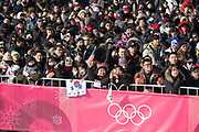 A crowded Alpensia Ski Jumping Stadium for the mens snowboard big air qualification at the Pyeongchang 2018 Winter Olympics on February 21st 2018, at the Alpensia Ski Jumping Centre in Pyeongchang-gun, South Korea
