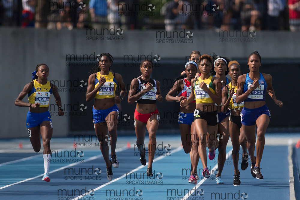 Toronto, ON -- 11 August 2018: Ajee Wilson (USA) and Simoya Campbell (Jamaica), lead on the first lap of the 800m final at the 2018 North America, Central America, and Caribbean Athletics Association (NACAC) Track and Field Championships held at Varsity Stadium, Toronto, Canada. (Photo by Sean Burges / Mundo Sport Images).