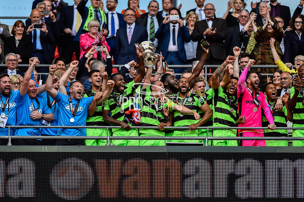 Forest Green Rovers lift the ply off final trophy and celebrate promotion in to the football league during the Vanarama National League Play Off Final match between Tranmere Rovers and Forest Green Rovers at Wembley Stadium, London, England on 14 May 2017. Photo by Adam Rivers.
