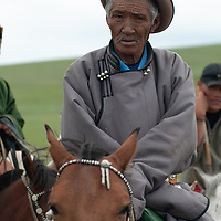 Nomadic herder at a naadam festival on a remote pass in Arbulag Sum, near Muren in Hovsgol Aimag, Mongolia.