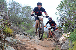 WORCESTER, SOUTH AFRICA - MARCH 21: Joel Stransky and Andrew Mclean during stage three's 122km from Robertson to Worcester on March 21, 2018 in Cape Town, South Africa. Mountain bikers from across South Africa and internationally gather to compete in the 2018 ABSA Cape Epic, racing 8 days and 658km across the Western Cape with an accumulated 13 530m of climbing ascent, often referred to as the 'untamed race' the Cape Epic is said to be the toughest mountain bike event in the world. (Photo by Dino Lloyd)
