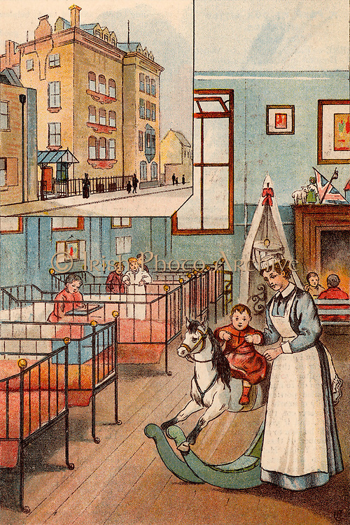 Borwick Ward for children under ten and, inset, Her Majesty's Hospital, Stepney Causeway, London. The hospital, run by Barnados, was opened in 1888 as a hospital for sick children.  It was closed in 1922 and its work continued by Barnados' JC Hanbury Hospital. From 'Bubbles' c1900 published by Dr Barnados Homes for Children. Oleograph.