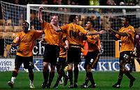 Photo: Ed Godden.<br />Wolverhampton Wanderers v Norwich City. Coca Cola Championship. 23/12/2006. Jody Craddock (2nd left) celebrates with his Wolves team mates after scoring to make it 2-2.