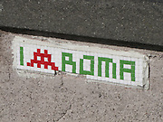 Italy, Rome, pixel graffiti, space invaders