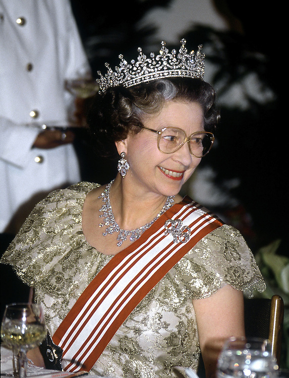The Queen seen at a banquet in Singapore in October 1989.Photo by Jayne Fincher