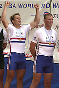 2002 World Rowing Championships -Seville_Spain<br />21/09/2002 <br />Photo Peter Spurrier<br />Final day Matthew Pinsent and James Cracknell winning the men's pair<br />Girlfriends<br />James - Beverley<br />Matthew - Dee