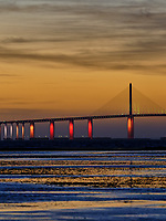 Sunshine Skyway Bridge at Dawn from Fort De Soto Park. Split Print 4 of 6 images taken with a Fuji X-H1 camera and 200 mm f/2 OIS lens (ISO 400, 200 mm, f/4, 1/8 sec). Raw images processed with Capture One Pro and AutoPano Giga Pro.