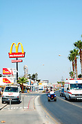 Cyprus, Agia Napa a small vacation town on the Mediterranean Sea on the southern shores of the island A big Mc Donald's sign on Leoforos Nissi street