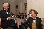 NICKY HASLAM, RICHARD E. GRANT  Nicky Haslam hosts dinner at  Gigi's for Leslie Caron. 22 Woodstock St. London. W1C 2AR. 25 March 2015