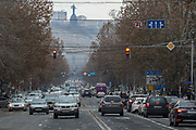 A general view of the city centre of Armenia's capital city Yerevan on Friday, Jan 15, 2021 - shows what some road police officers in Yerevan say the crucial increase in the number of cars is number one problem that hinders their efforts to bring some order to the streets. It is thought that around 12,000 cars are bought by Yerevan residents annually. In addition to it, some 20,000 other cars enter the city from nearby and remote regions. (Photo/ Vudi Xhymshiti)