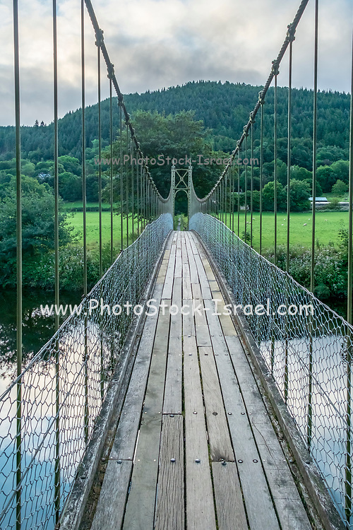 Sappers suspension bridge over the River Conwy built in 1930 and a prominent landmark in the village of Betws-y-Coed in North Wales
