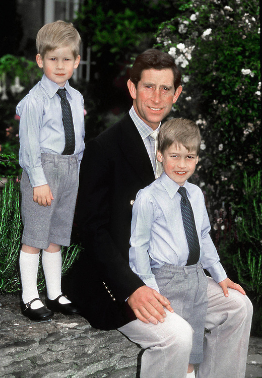 Prince Charles,Prince of Wales seen with sons Prince William and Prince Harry in the garden of their homeHighgrove House,Gloucestershire,UK. They pose for an official photograph the mark the Prince of Wales 40th birthday. August 1988.Photographed by Jayne Fincher