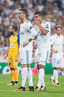 Real Madrid's Cristiano Ronaldo and Carlos Henrique Casemiro during UEFA Champions League match between Real Madrid and Apoel at Santiago Bernabeu Stadium in Madrid, Spain September 13, 2017. (ALTERPHOTOS/Borja B.Hojas)