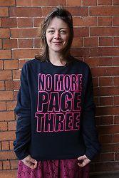 © Licensed to London News Pictures. 15/02/2014. London, UK. Founder of the No More Page Three campaign, Lucy Anne Holmes outside t St Pancras Station in London on 15th February 2014 after performing a flash mob. The No More Page Three campaign is asking The Sun newspaper to stop using topless female models on Page 3 of the daily British newspaper. Photo credit : Vickie Flores/LNP