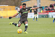 Forest Green Rovers Reece Brown(10) shoots at goal during the EFL Sky Bet League 2 match between Stevenage and Forest Green Rovers at the Lamex Stadium, Stevenage, England on 26 January 2019.
