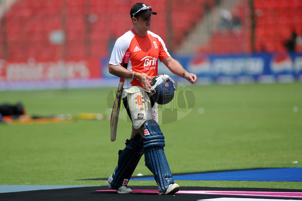 Andrew Strauss captain of England during a practice session before the start of the ICC Cricket World Cup match between India and England held at the M Chinnaswamy Stadium in Bengaluru, Bangalore, Karnataka, India on the 27th February 2011..Photo by Pal Pillai/BCCI/SPORTZPICS