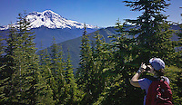 Lisa Hight photographs Mount Rainier from the Tahoma State Forest  with her smart phone camera WA USA pan