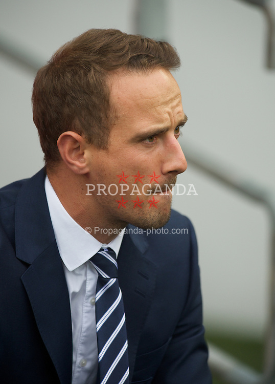 CARDIFF, WALES - Tuesday, August 21, 2014: England's manager Mark Sampson before the FIFA Women's World Cup Canada 2015 Qualifying Group 6 match against Wales at the Cardiff City Stadium. (Pic by Ian Cook/Propaganda)