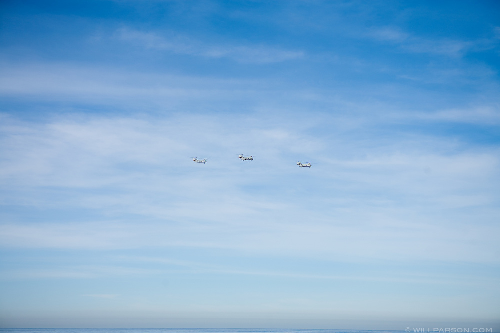 Aircraft fly toward Camp Pendleton in San Diego on December 17.