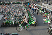 Shared bikes parked in the thousands to be used by passengers at Tongzhou Beihunye Train Metro Station