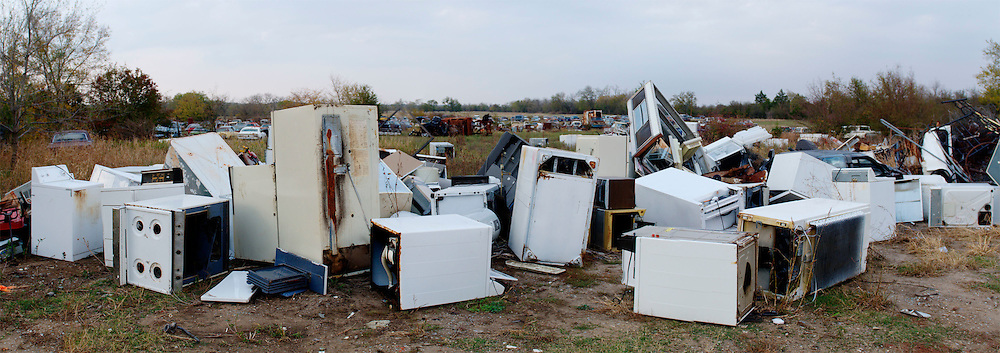 Abandoned appliances in a field near Okemah, Oklahoma