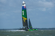 SailGP Team Australia practice for the first time on the Solent ahead of the Cowes event. Event 4 Season 1 SailGP event in Cowes, Isle of Wight, England, United Kingdom. 7 August 2019: Photo Chris Cameron for SailGP. Handout image supplied by SailGP