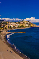High angle view of the beach resort of Almunecar, Costa Tropical, Granada Province,  Andalusia, Spain.